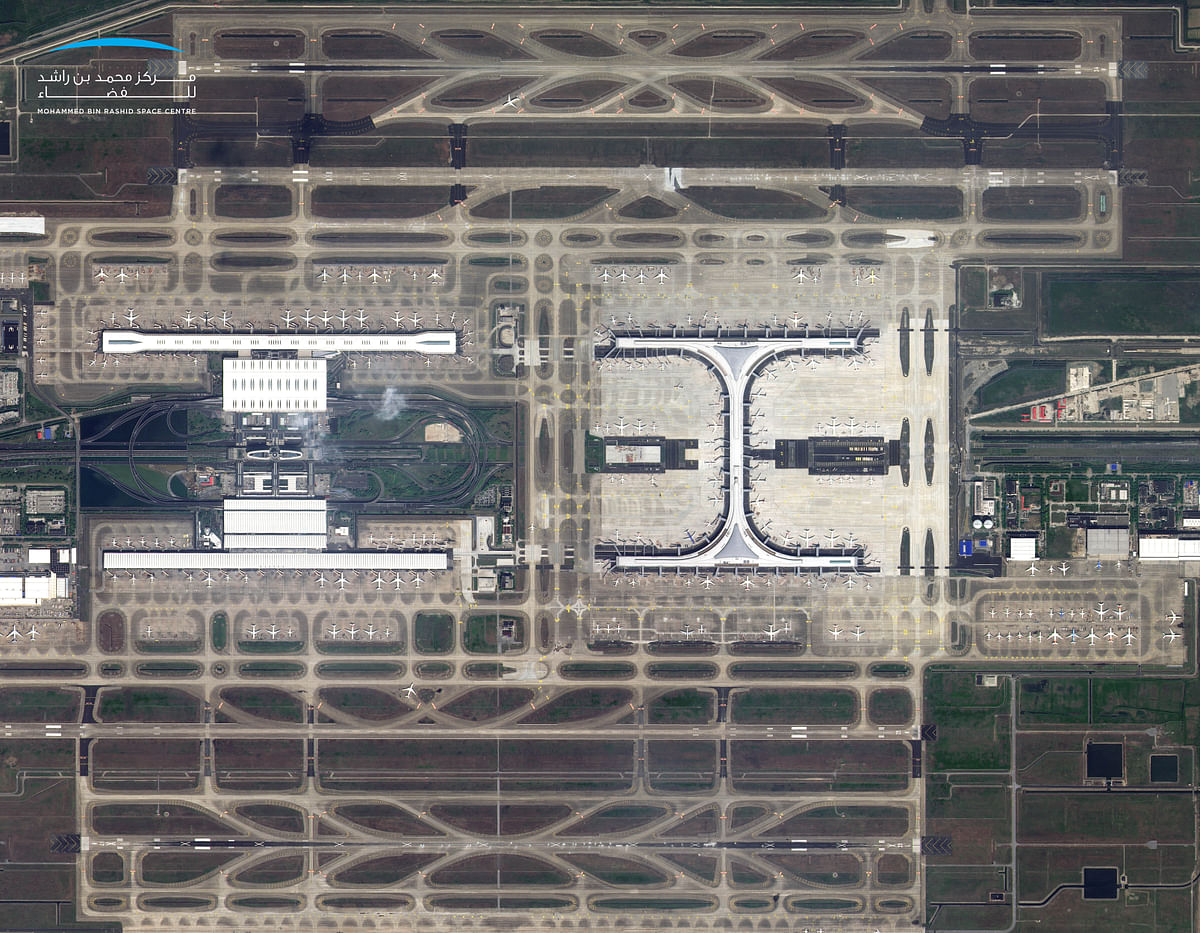 Shanghai-Pudong Airport as seen from space by the UAE's KhalifaSat.