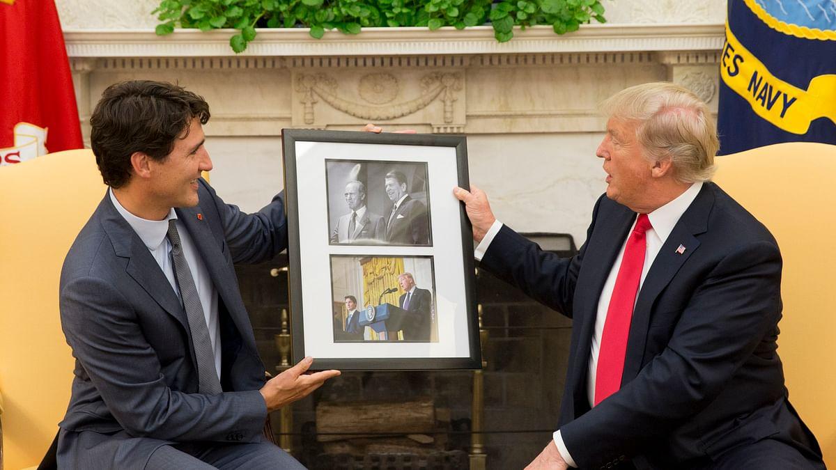अमेरिका के राष्ट्रपति डोनाल्ड ट्रम्प और कनाडा के प्रधानमंत्री जस्टिन ट्रूडो .