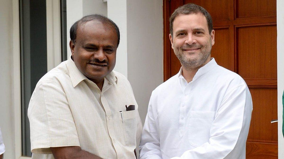 कांग्रेस अध्यक्ष राहुल गांधी कर्नाटक के मुख्यमंत्री एचडी कुमारस्वामी से मुलाकात करते हुए।