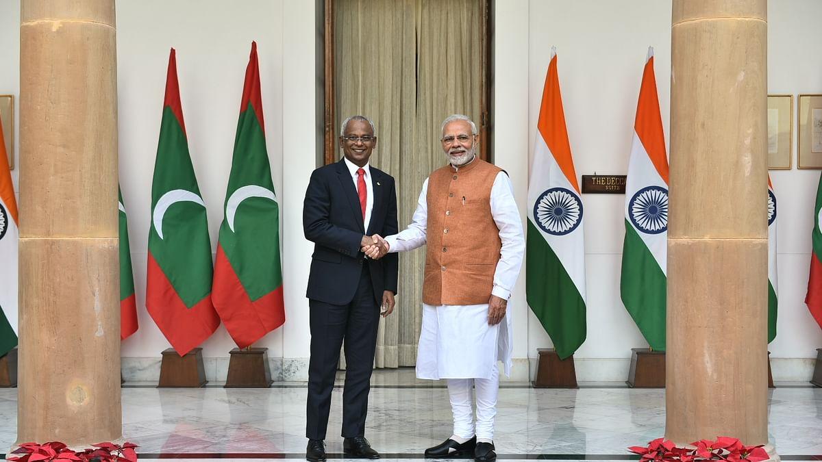 प्रधानमंत्री मोदी मालदीव के राष्ट्रपति से मिले
