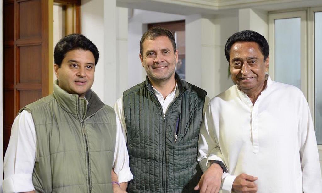 मध्य प्रदेश के मुख्यमंत्री कमलनाथ और ज्योतिरादित्य सिंधिया के साथ तस्वीर शेयर कर बोले राहुल: धैर्य और समय सबसे शक्तिशाली योद्धा