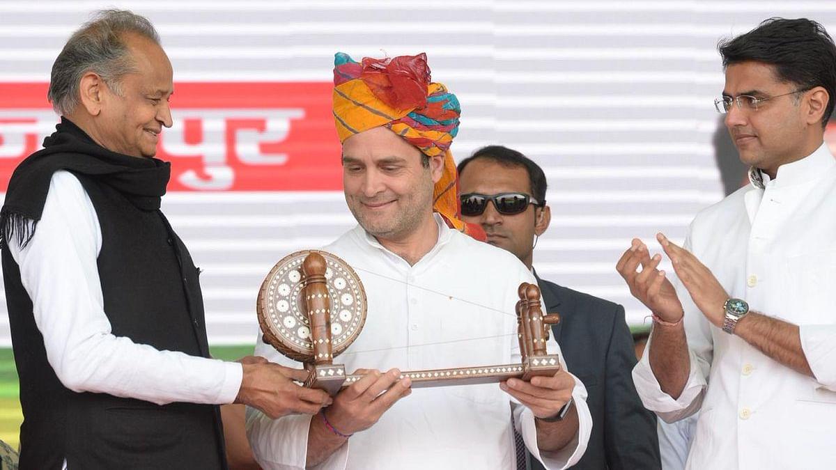 कांग्रेस अध्यक्ष राहुल गांधी जयपुर में किसान रैली को संबोधित किया