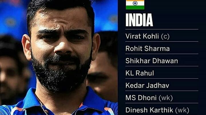 team india for world cup 2019