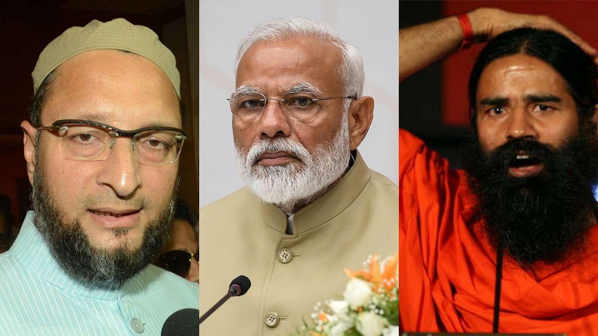 असदुद्दीन ओवैसी, प्रधानमंत्री नरेंद्र मोदी और बाबा रामदेव