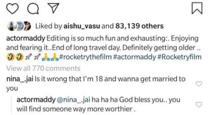 R Madhavan Instagram