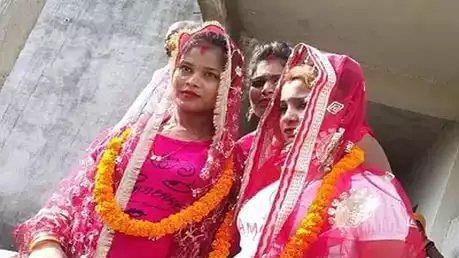 दो चचेरी बहनों ने रचाई शादी