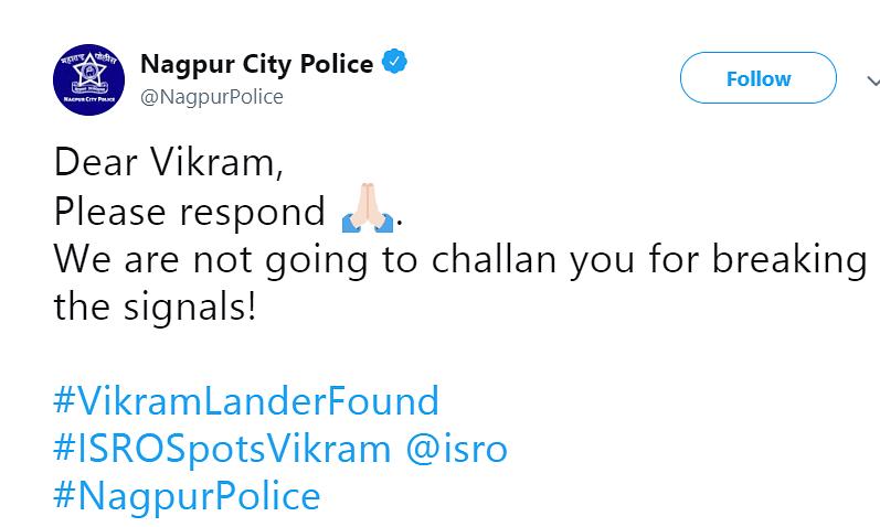 नागपुर पुलिस ने ट्वीट करके देश का दिल जीत लिया, कहा विक्रम जवाब दो !