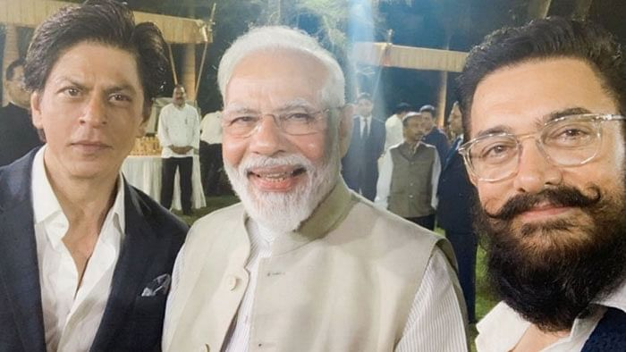 Actors Shah Rukh Khan and Aamir Khan with Prime Minister Narendra Modi