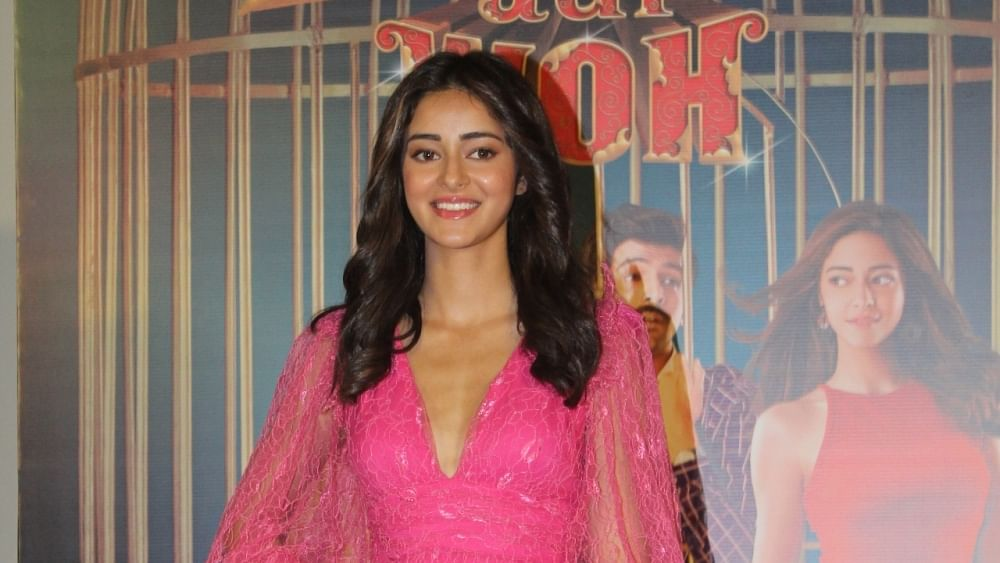 "Actress Ananya Pandey at the trailer launch of her upcoming film ""Pati Patni Aur Woh"" in Mumbai"