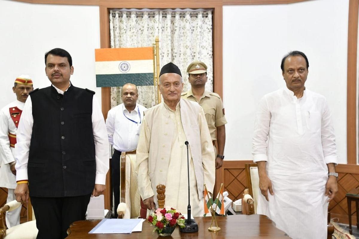Maharashtra Governor B.S. Koshyari, Devendra Fadnavis, Ajit Pawar