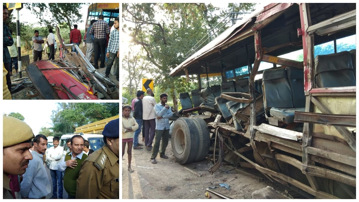 Nine persons were killed in a bus-truck collision in Banda district of Uttar Pradesh