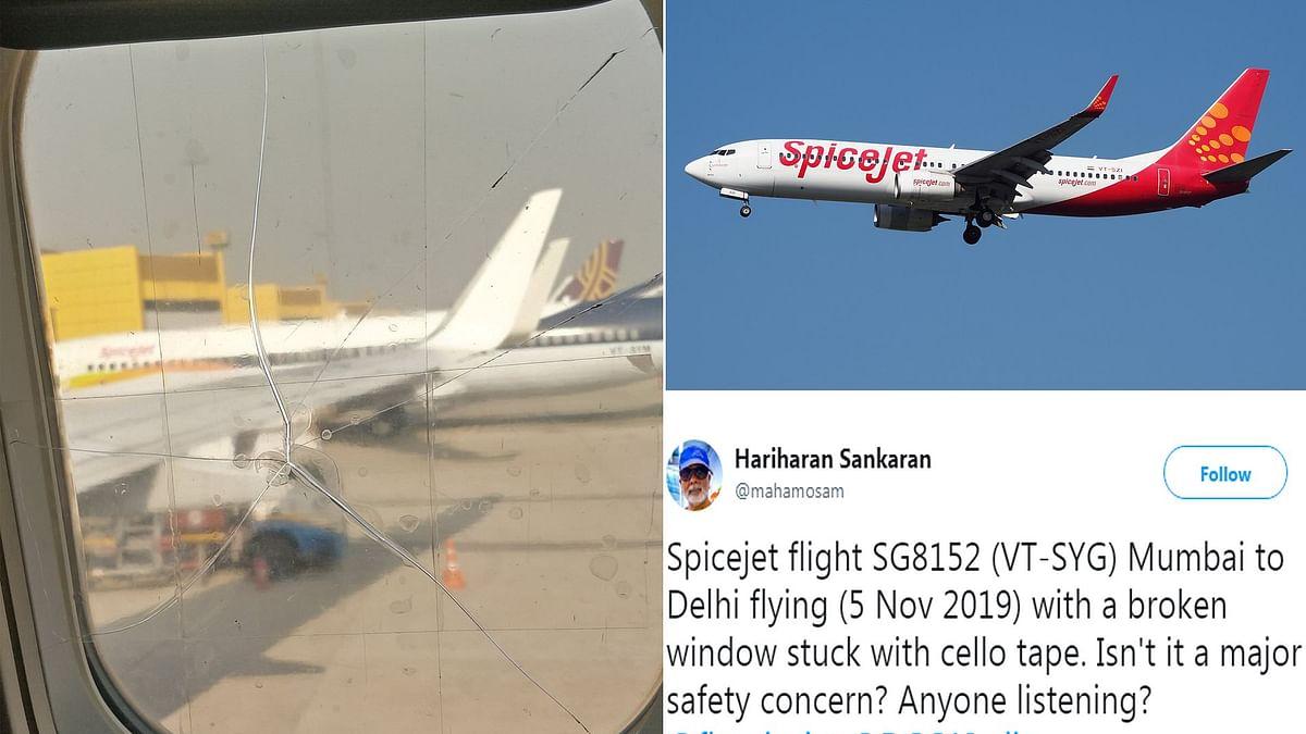 SpiceJet Aircraft Broken Window