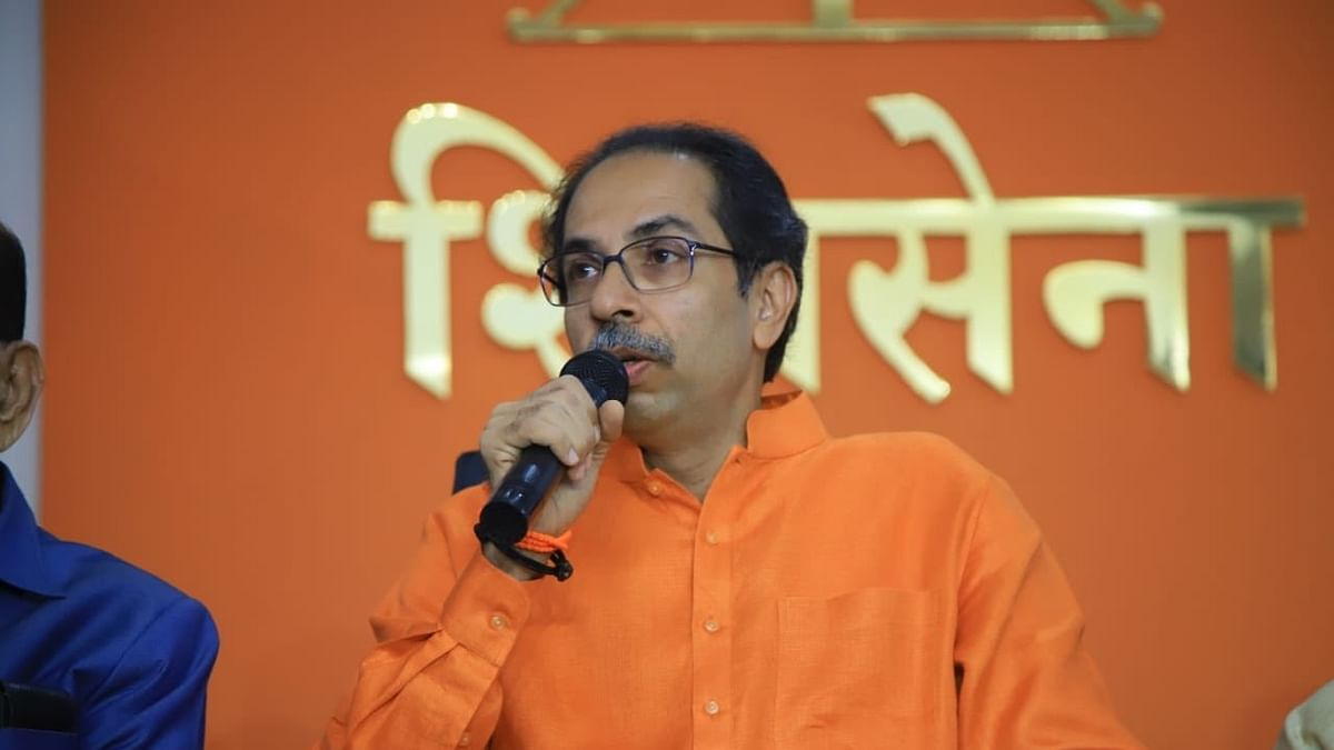 Shiv Sena chief Uddhav Thackeray addresses a press conference in Mumbai
