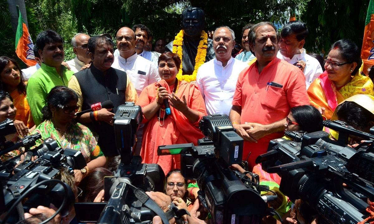 Sadhvi Pragya Singh Thakur talks to media