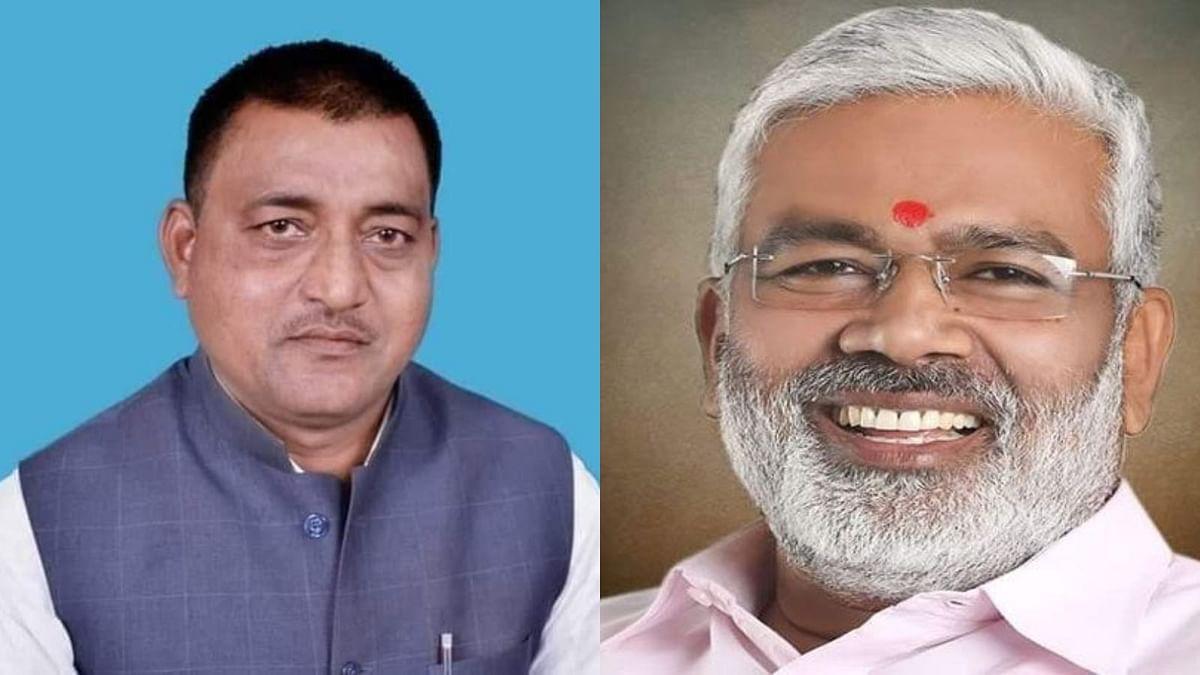 Ramkesh Nishad (Left) Banda BJP President and Swatantra dev singh