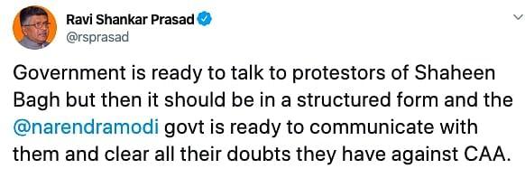 Ravi Shankar Prasad Tweet