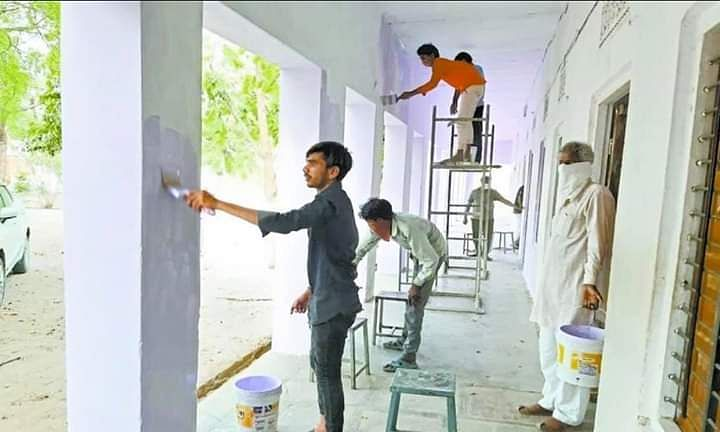 quarantined labourers painted school in sikar rajasthan