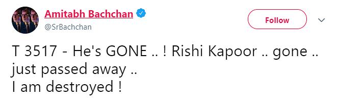 Amitabh Bachchan Tweet Screenshot