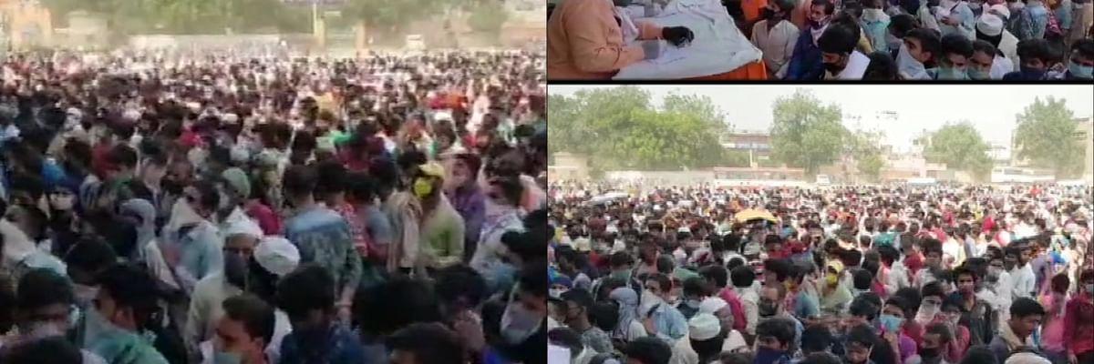 दिल्ली प्रशासन ने मजदूरों का बसों में भरकर का यूपी बॉर्डर पर छोड़ा, दिल्ली-गाजियाबाद सीमा पर भारी भीड़