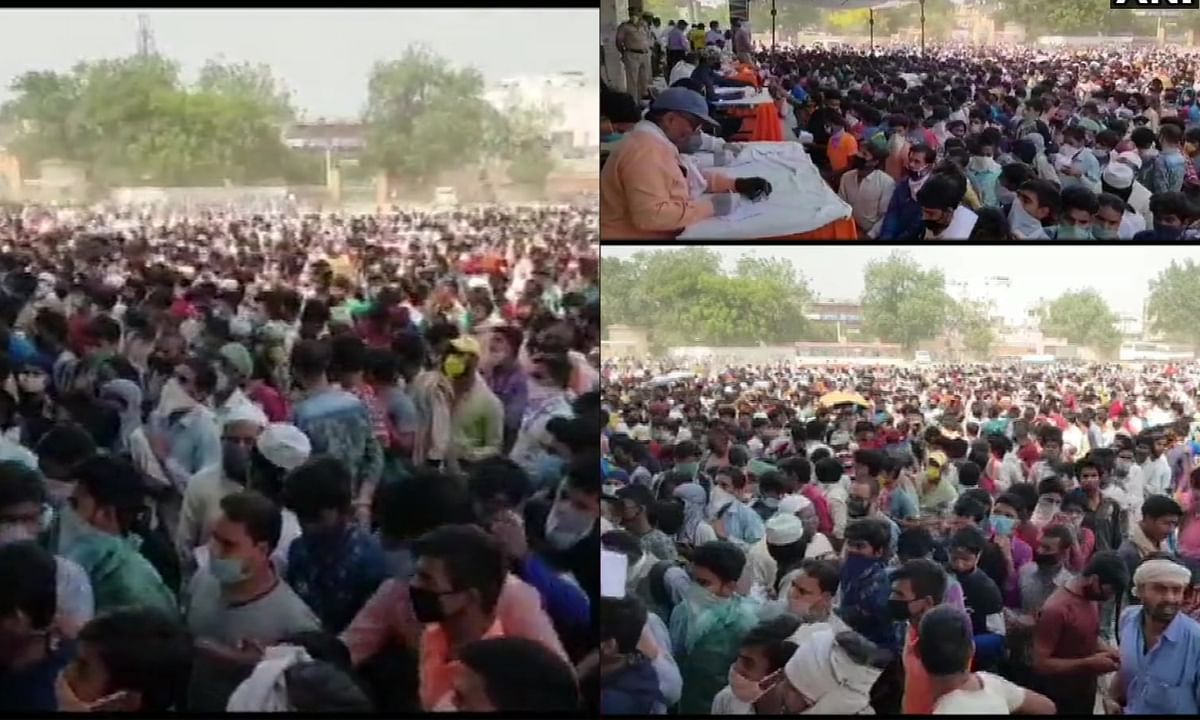 Migrant workers crowd in ghaziabad