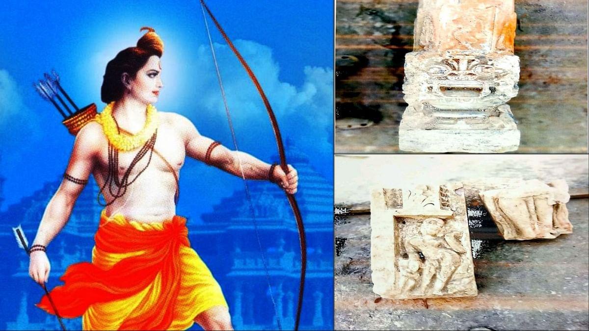 अयोध्या के श्रीराम जन्मभूमि में विराजमान श्री रामलला के गर्भगृह स्थल पर चल रहे समतलीकरण के दौरान पुरावशेष प्राप्त हो रहे हैं