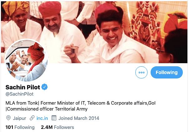 sachin pilot changes his twitter profile