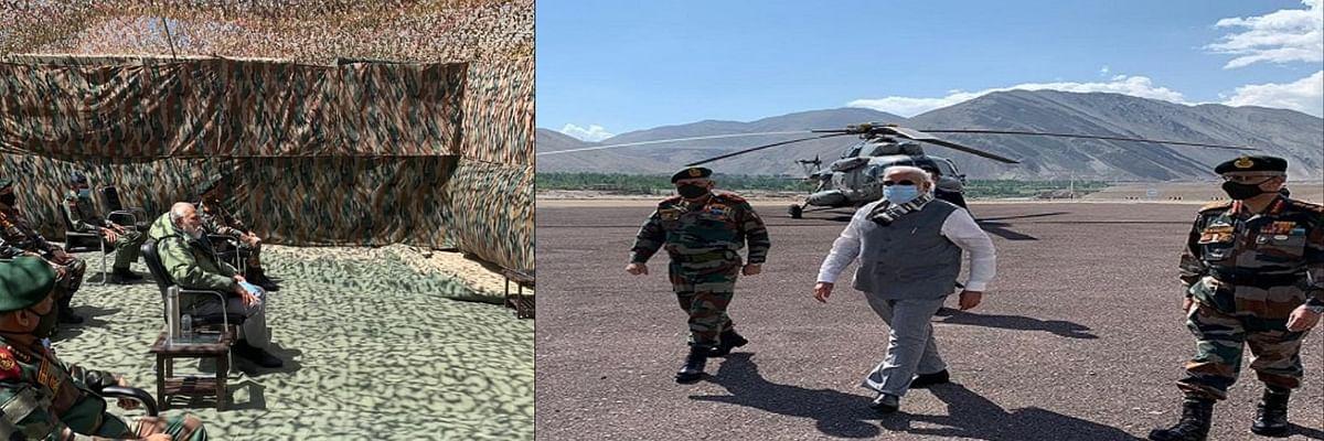 चीन के साथ चल रहे सीमा विवाद के बीच सैनिकों का हौसला बढ़ाने लेह पहुंचे पीएम मोदी।