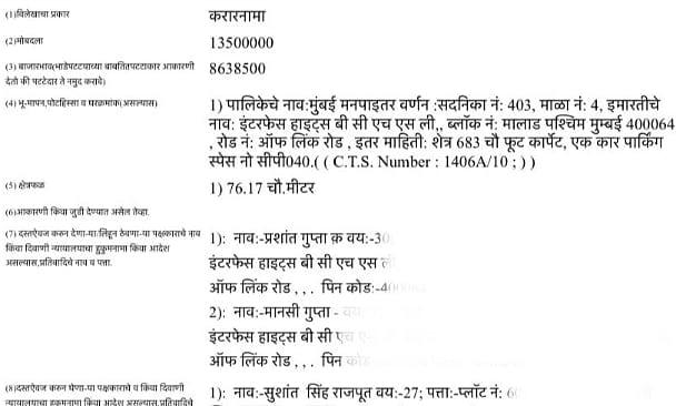 Sushant Singh Rajput's flat Sale Agreement in Malad