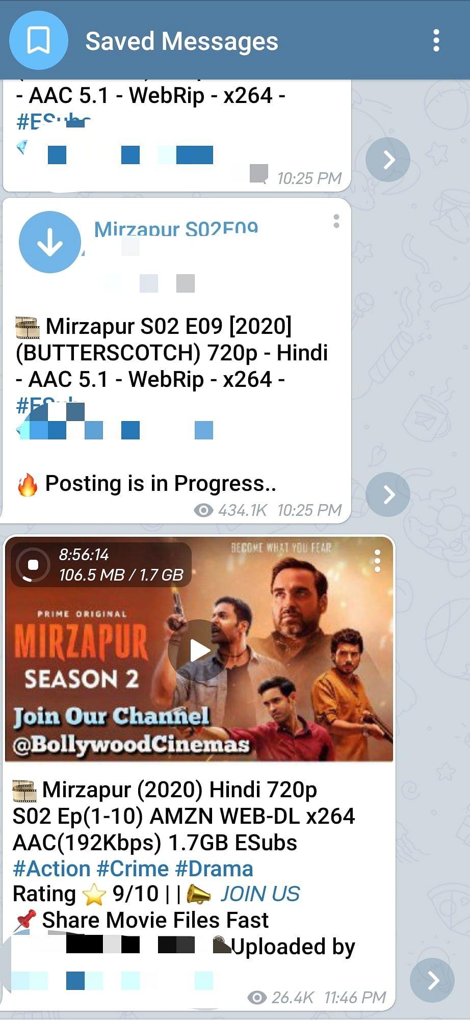 Mirzapur season 2 leaked on Telegarm