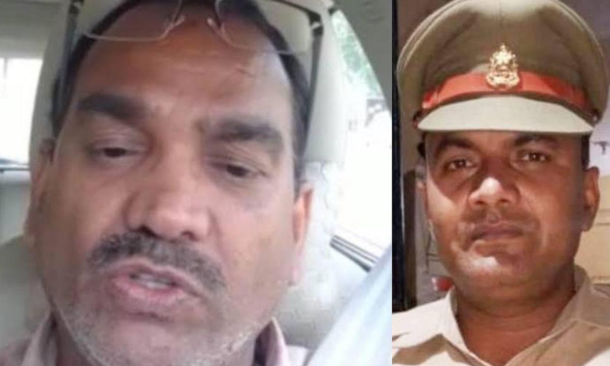 चित्र: मृतक इन्द्रकांत त्रिपाठी, गिरिफ्तार आरोपी दरोगा देवेंद्र शुक्ला