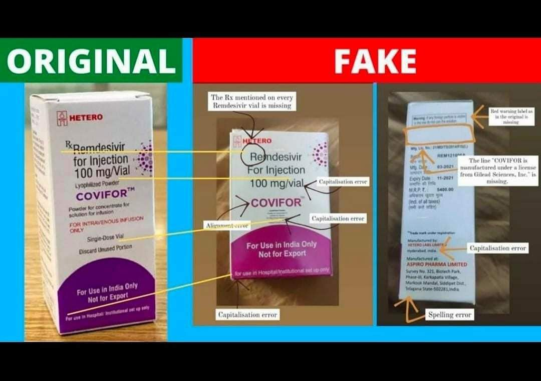How to identify fake remdesivir injection