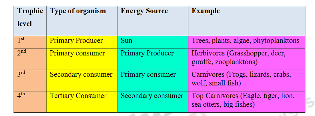 Table : Trophic levels