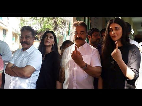 MNM President Kamal & Shruthi Haasan Cast their Votes | Election 2019
