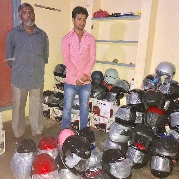 `விலை 300 ரூபாய்' - போலி ஹெல்மெட்களை கூவி விற்ற 2 பேர் சிக்கினர்
