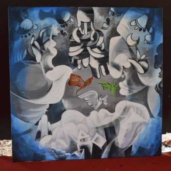 கஜா புயல், புல்வாமா தாக்குதலை நினைவுபடுத்திய ஓவியங்கள்!