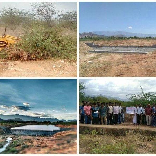 Rajapalayam youth repair check dam... 15 lakhs litres water saved..!