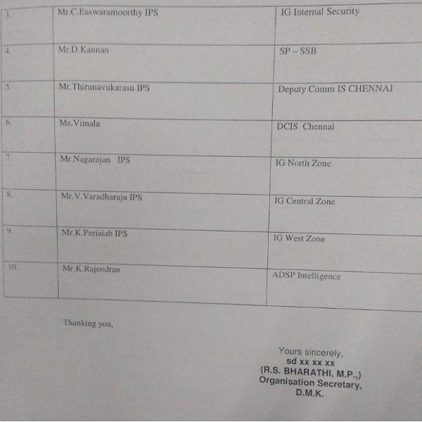 10 போலீஸ் அதிகாரிகளை மாற்ற வேண்டும்! - தேர்தல் ஆணையத்திடம் தி.மு.க மனு!