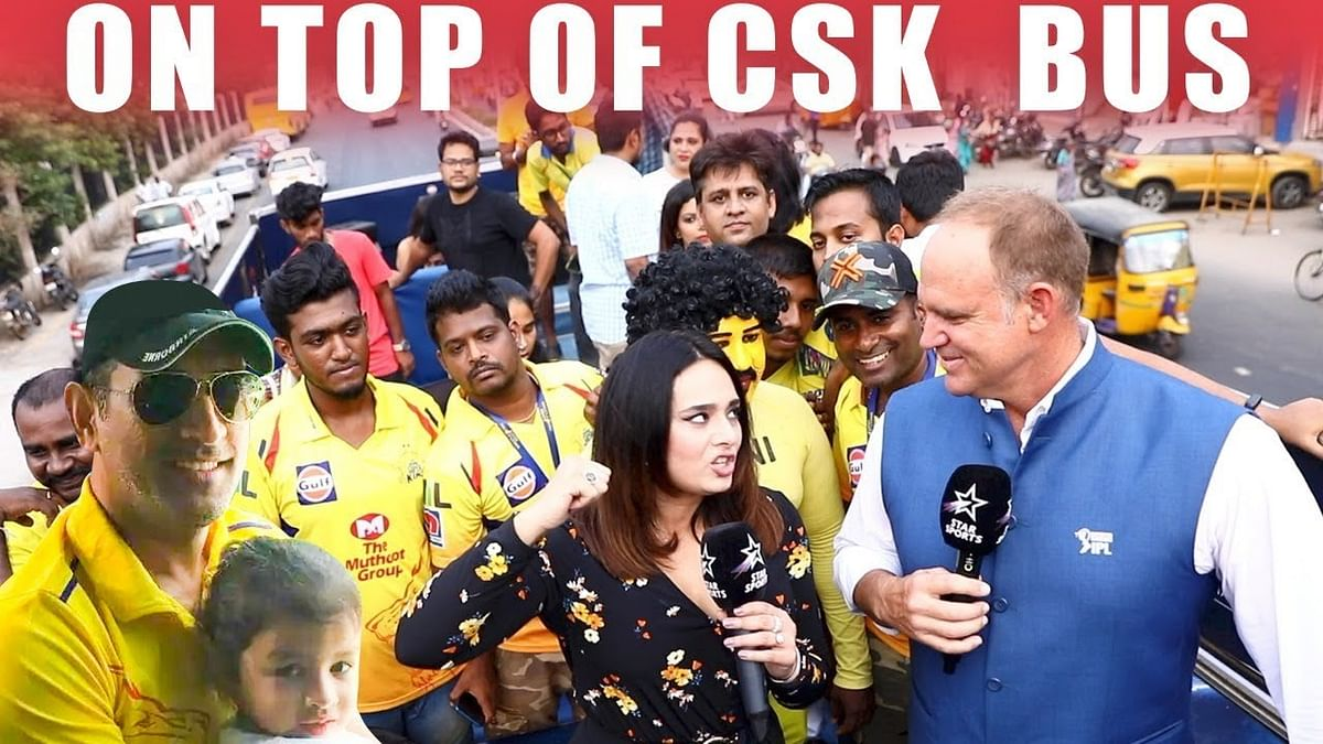 Tour On top of CSK Bus with Mayanti Langer & Mathew Haydan | Dhoni