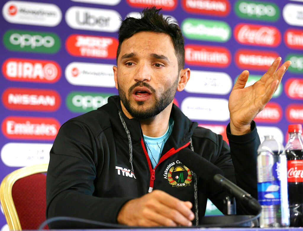 Afghanistan captain Gulbadin Naib speaks during a press conference at Old Trafford.