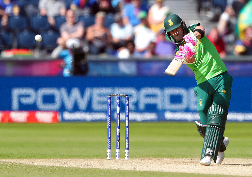 South Africa's captain Faf du Plessis plays a shot from Sri Lanka's bowler Suranga Lakmal.
