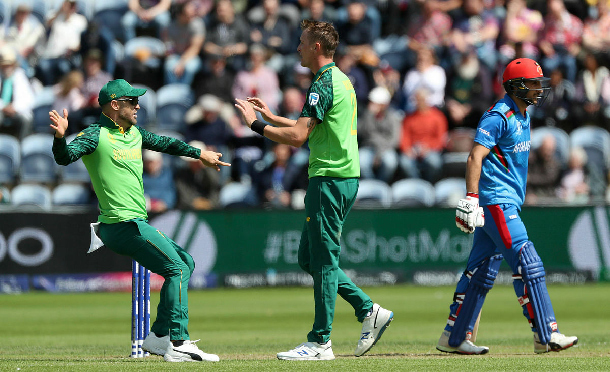 Chris Morris celebrates taking the wicket of Afghanistan's Rahmat Shah with Faf du Plessis.