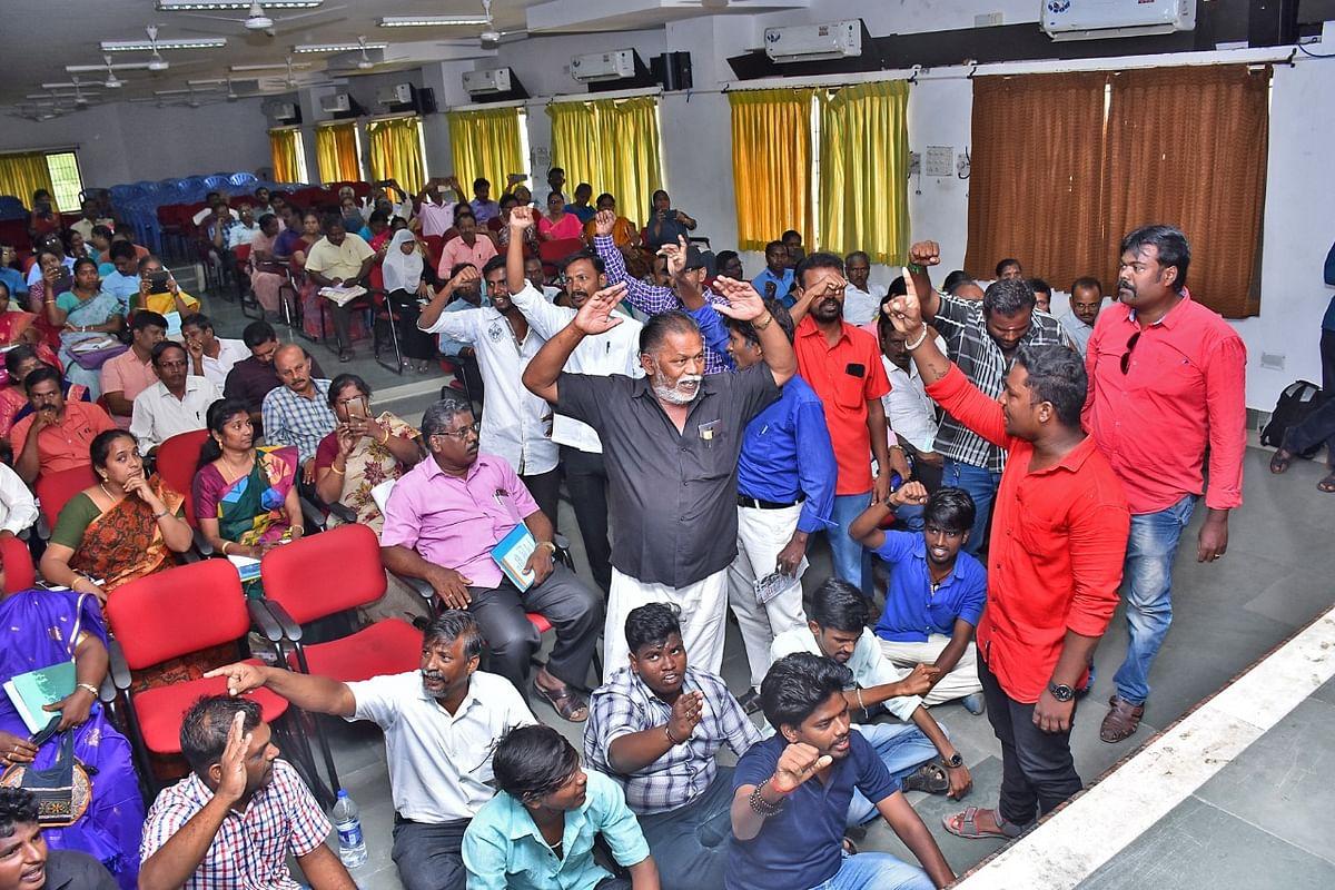 புதிய கல்விக் கொள்கைக்கான கூட்டத்தில் தர்ணா