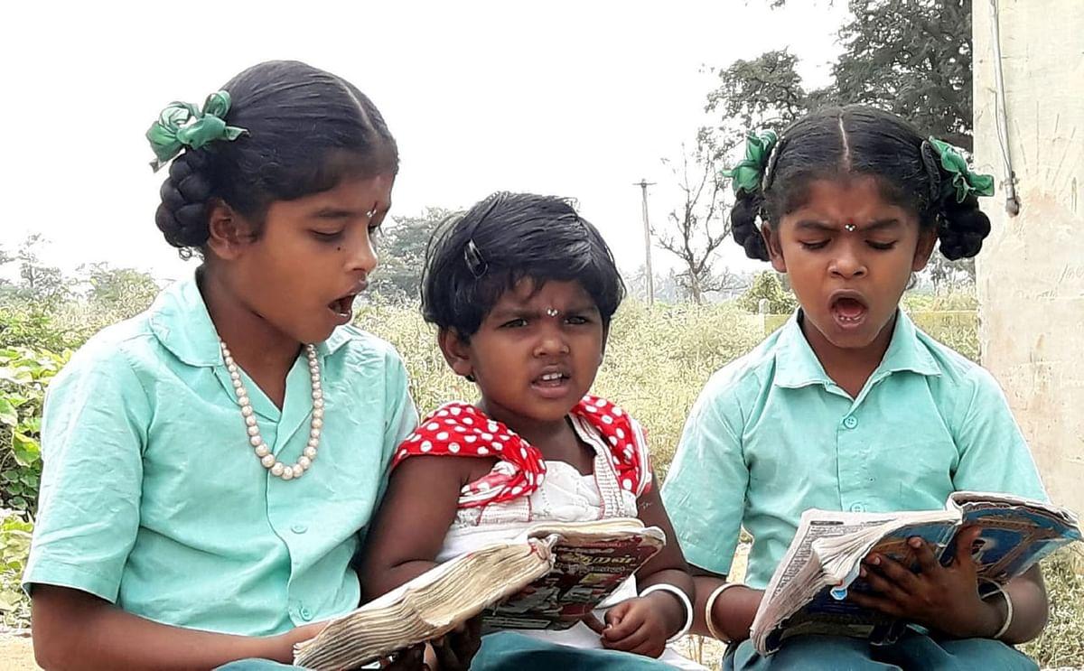 தங்கைக்கு திருக்குறள் கற்றுத்தரும் அக்காக்கள்
