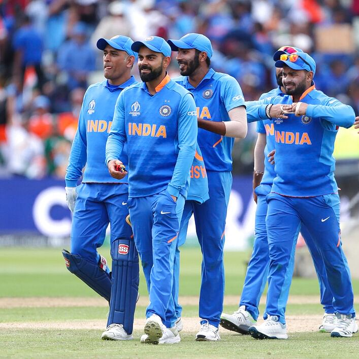 Indian team leaves the field after beating Bangladesh in world cup match in Birmingham.
