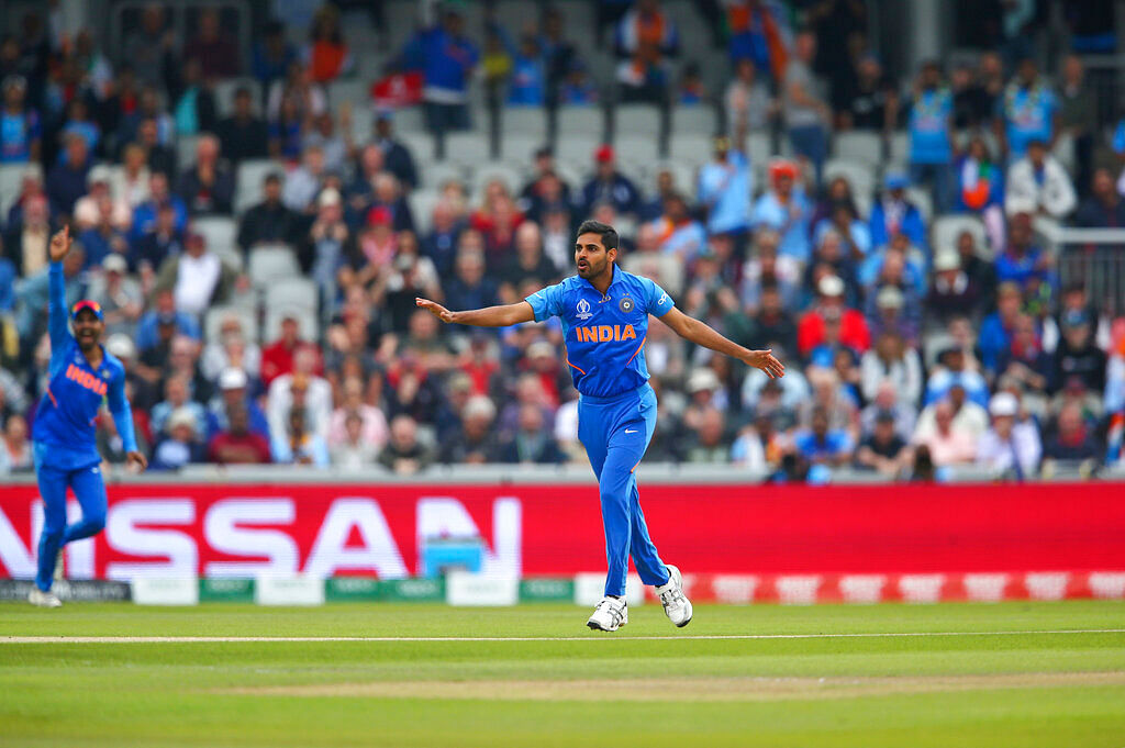 India's Bhuvneshwar Kumar makes an unsuccessful appeal for the dismissal of New Zealand's Martin Guptill.