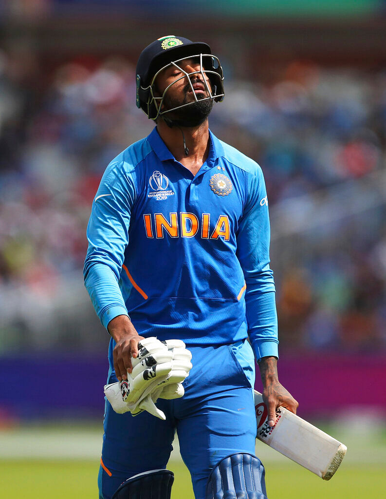 India's K.L. Rahul reacts as he leaves the field after being dismissed by New Zealand's Matt Henry.