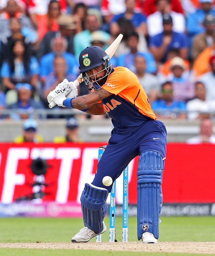 India's Hardik Pandya bats during the Cricket World Cup match between India and England in Birmingham.
