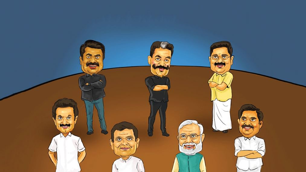 Narendra Modi, T. T. V. Dhinakaran, Kamal Haasan