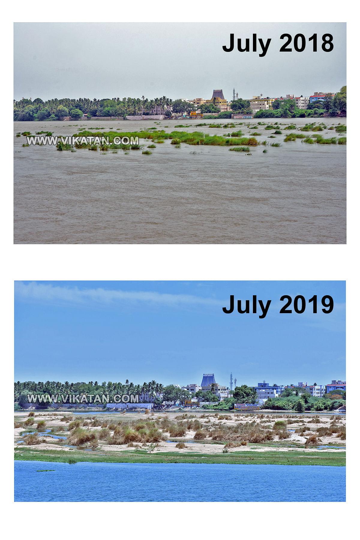 திருச்சி காவிரி ஆறு... ஓராண்டு ஒப்பீடு