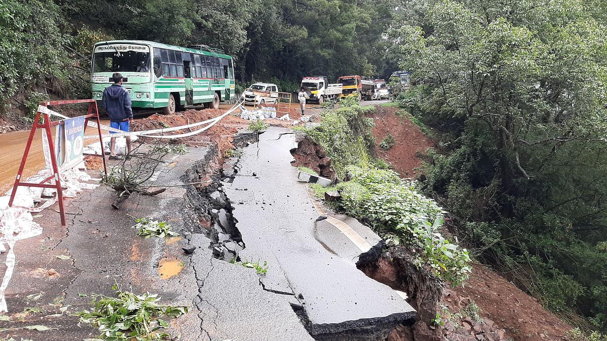 கூடலூர் சாலையில் ஏற்பட்டுள்ள பிளவு